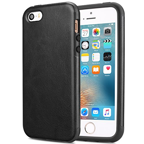 TENDLIN Compatible with iPhone SE Case (2016) / iPhone 5S Case Leather Back Flexible TPU Silicone Hybrid Arc Bumper Shockproof Case Designed for iPhone 5/5S/SE (Black)
