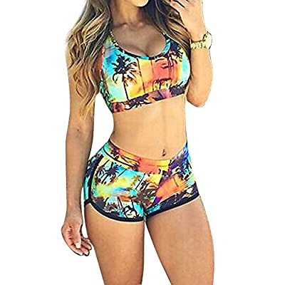 Diamondo Sexy Women Multicolor Floral Bikini Sports Swimwear Beachwear Bathing (Asian Size M)