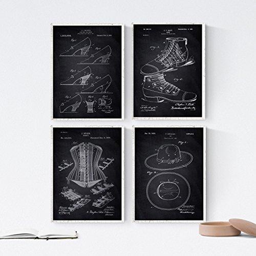 ZWART - pak van 4 vellen met PATENT MODA. Maak posters met uitvindingen en oude patenten. Kies de gewenste kleur. Gedrukt op hoge kwaliteit 250 gram. Nacnic