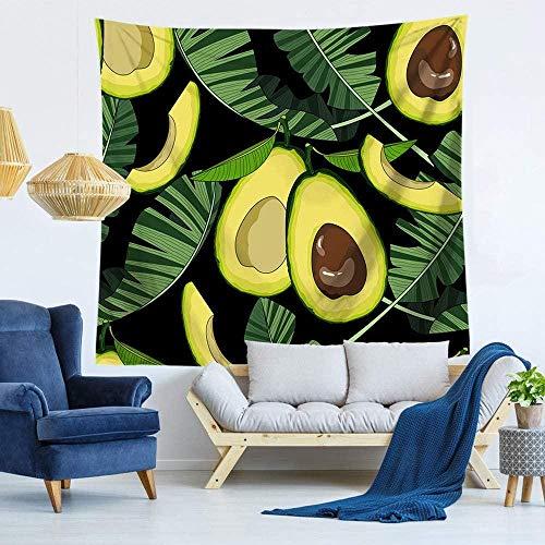 Wandtapijt,Groene Avocado Fruit Plant Bladeren n Stijl Tapijt Psychedelische Gothic Mode Maat Bedrukt Stof Mandala Tapijt Voor Thuis Woonkamer Slaapkamer Wanddecoratie -150 × 200cm