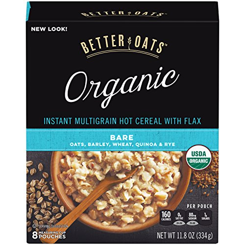 Better Oats Organic Instant Hot Cereal with Flax Bare 118 Ounce Pack of 6