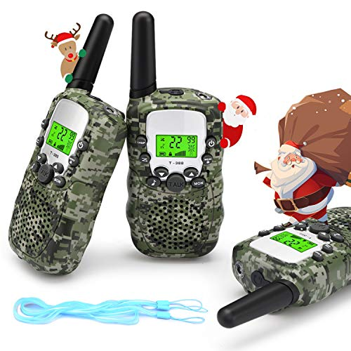 Fansteck Walkie Talkie, 3 Pack Walkie Talkie para Niños con 8 Canales Función de VOX, Interfono Infantil Inalámbrico, Rango de 3KM, Linterna incorporada.Regalos para Niños de 3+ años.