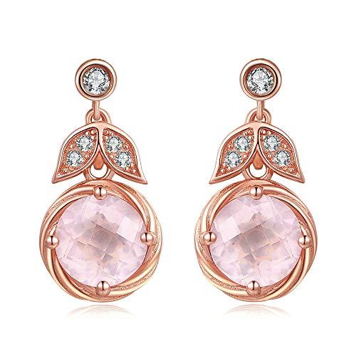 NOBRAND Pendientes De Mujer Pendientes De Moda De Joyería De Plata 925 De Cuarzo Rosa Rosa Natural
