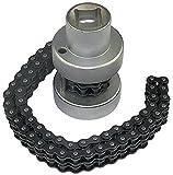 AERZETIX - Llave de cadena doble para filtro de aceite ajustable con vaso 1/2'' - 230mm - en acero Cr-V - C47244