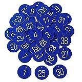 Anladia 1 bis 50 numeriert Kennzeichnungsmarken Textmarken Zahlenmarken Schlüsselmarken Blau