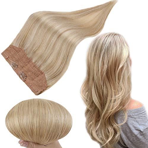 Runature Halo Extensions Human Hair 12 Zoll Farbe 16 Goldene Blondine Mit 24 Hellblond 70G Glatt Haar Halo Haar Extensions