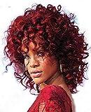 Yxshz Peluca afroamericana longitud del hombro peluca Afro Big rizado mujeres peluca (rojo)