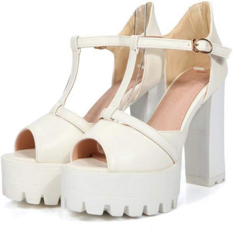 dfbfb0173f5bd4 Btrada Women High Heel Sandals Summer Peep Toe T-Strap Thick Heels Platform  Ladies Party