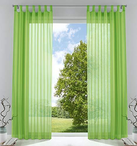 2er-Pack Gardinen Transparent Vorhang Set Wohnzimmer Voile Schlaufenschal mit Bleibandabschluß HxB 225x140 cm Apfelgrün, 61000CN