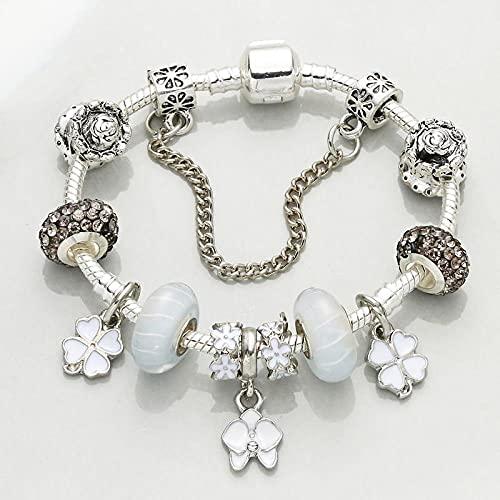 CHWEI Knitted Hat Armbänder Dropshipping Bloom Charm Armbänder für Frauen mit Blumenperlen Schlangenkette Feines Armband Schmuck Geschenk Pulseras A 18cm