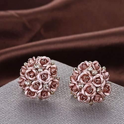 AQUALITYS Pendientes de botón de Diamantes de imitación de Flores de Boda de Oro Rosa de Cristal Redondo Negro Azul a la Moda para Mujer Conjunto de Pendientes de joyería-café
