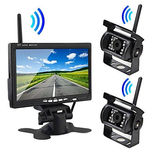 7インチモニター+ワイヤレスバックカメラ2台セット 無線接続式 映像配線不要 防水仕様カメラ 12/24V両用 大型車向け FMTOMT78SET