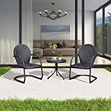 PURPLE LEAF Outdoor Patio Bistro Set, 3 Pieces Retro Porch Furniture Set 2 C-Spring Metal Outdoor Chairs and Round Side Table, Grey