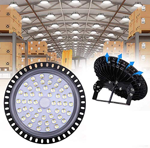 UFO LED Iluminación, WZTO 20000LM 200W Techo de Cristal 6000K-6500K Impermeable IP65, Brillante Iluminación Comercial Bahía Luces Almacén led Lámpara de Techo de Cristal- Garantía de 2 años