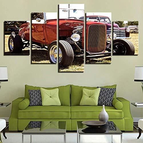 VKEXVDR 5 Partes decoración de Paredes Moderna Sports Car 11 – Automative HD Impresión Foto 200 * 100Cm Regalo para Salon,Dormitorio,Baño,Comedor Decoració