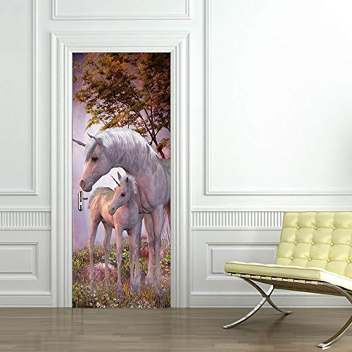 XXXCH 3D Türaufkleber Einhorn Pferd 77X200CM Türtapete selbstklebend TürPoster - Fototapete Türfolie Poster Tapete Meer Aufkleber DIY Selbstklebende Wandbild PVC Wasserdichte Tapete