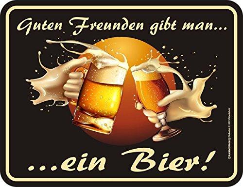 RAHMENLOS Original Blechschild für den Biertrinker: Guten Freunden gibt Man EIN Bier! Nr.3639