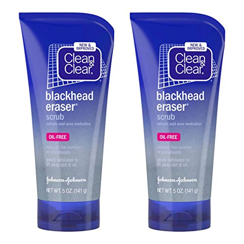 Clean & Clear Blackhead Eraser Oil-Free Facial Scrub with 2% Salicylic Acid Acne Medication, Exfoliating Daily Face Scrub for Acne-Prone Skin Care, 5 oz (Pack of 2)