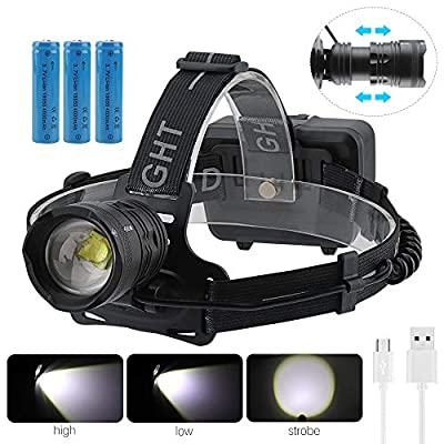 BORUiT XHP70 LED Headlamp Super Bright USB Rechargeable Headlight Zoomable Waterproof 3 Modes Torch Light with 3pcs 18650 Batteries for Camping Hiking