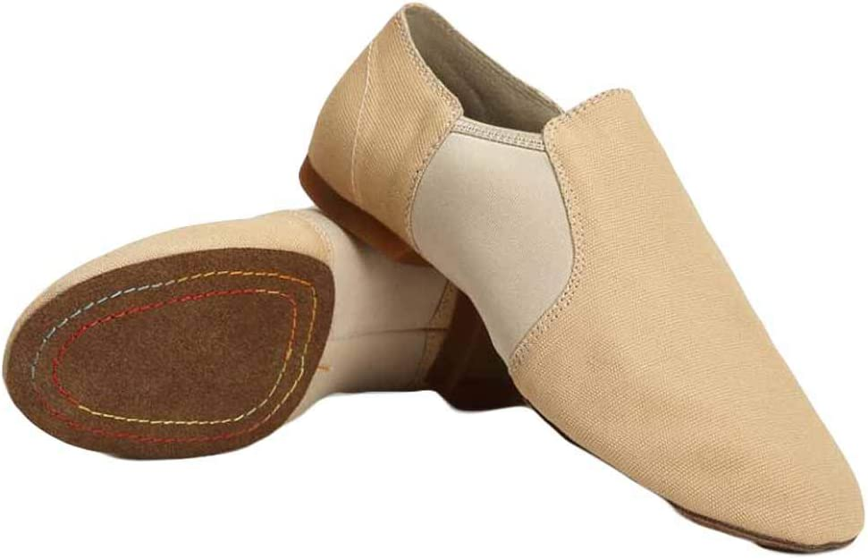 Canvas Women Ballet Shoes Indoor Dance Practice Split Sole Slip On Jazz Shoes Yoga Dance Shoes, Beige