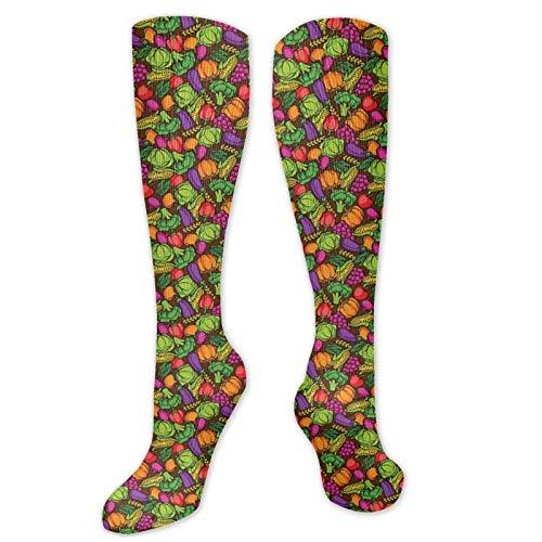 Bingyingne patrón de comida de temporada de estilo de dibujos animados con brócoli, maíz, lechuga, rábano, calcetines hasta la rodilla, Cool Sport Travels, medias largas de 60 cm