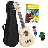 CASCHA Set de ukelele soprano holandés I Kit de iniciación con 3 púas + funda + DVD afinador I cuerdas Aquila Nylon I Guitarra Hawaii pequeña I Cream