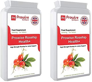 Prowise Rosehip 5000mg 120 Tablets - High Strength Joint Support Supplement - UK Manufactured GMP Guaranteed Quality - Suitable for Vegetarians & Vegans (Pack of 2)