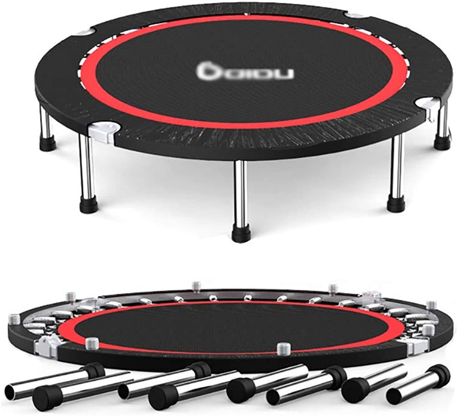 Trampolines 50'' Extra Large Fitness Trampolines with Safety Jump Mat, 350kg Load, Adults Black BounceR Equipment for Cardio Training