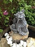 Gartenfigur Wasserspeier Drache Figur Steinfigur für Garten Deko Koi Teich