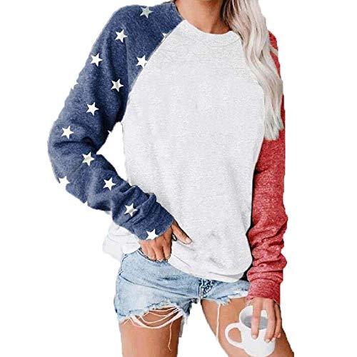 Star Print Colorblock Sweatshirt Womens Long Sleeve American Flag 4th of July Pullvoer Blouse Sweatshirt White