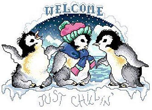 QGHMV DIY Kits de Punto de Cruz Estampado para Principiantes 11ct pingüino Bordado de Punto de Aguja Printed Kit de Punto de Cruz para Principiantes decoración del hogar