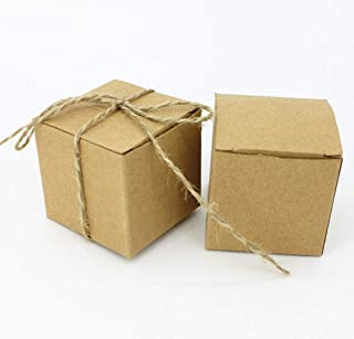 Autupy 50pcs Kraft Favor Boxes with 50pcs Twine, Rustic Kraft Paper Candy Box for Wedding Favor Baby Shower Favor
