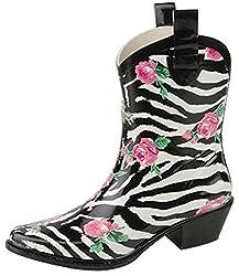 cheap Nature Breeze Cb Rain-21 Women's Ankle Length Zebra Print Rose  Zebra 6 Rain Boots