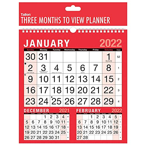 2022 Wall Calendar Home Office 3 Month to View Planner in Hanging
