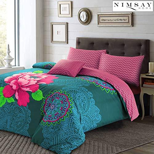 Nimsay Home Janice Floral - Conjunto de funda de edredón, Teal, Pink & Plum, matrimonio
