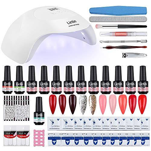 Lictin Kit Semipermanente Unghie - 10 * 8ml Set Semipermanente Unghie Completo con 24W LED Lampada UV Nail Dryer Topcoat Basecoat Nail Art Kit Ricostruzione Unghie