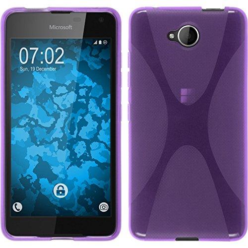 PhoneNatic Case kompatibel mit Microsoft Lumia 650 - lila Silikon Hülle X-Style + 2 Schutzfolien