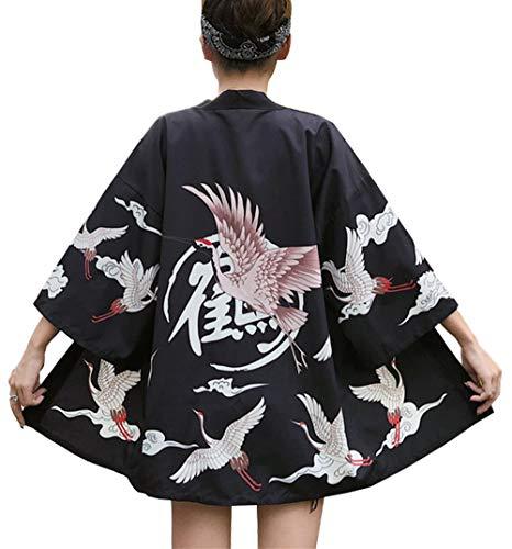 LAI MENG - Kimono holgado para mujer con estampado japonés, manga 3/4, chaqueta ligera, UE 34-46