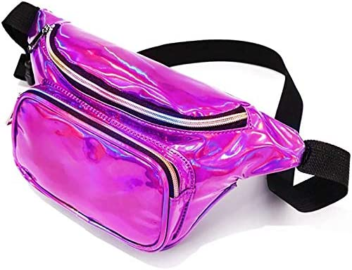Holographic Fanny Pack for Women and Man Shiny Neon Waist Bag for Rave Festival Travel Party product image