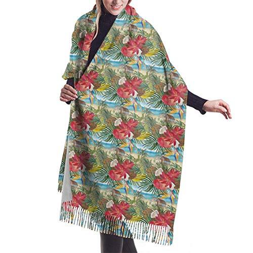 Mujer Cachemira Bufanda De Pashminas Larga Suave y Cálido Chales Estolas Fulares Bufanda Plátanos Piñas Cocos Mango 77x27 in