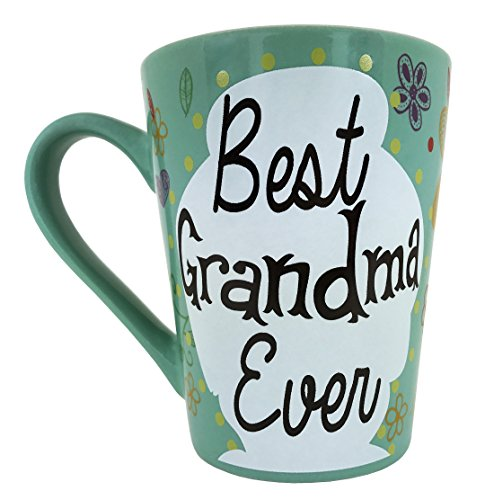 KINREX Mothers Day Coffee Mug Gifts - Best Grandma Ever Ceramic Tea Cup - Birthday Presents for Mothers and Grandma - Turquoise- 12 Oz.
