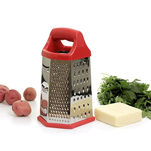 Zanzer 6 Sides Stainless Steel Box Super Sharp Grater Fine, Medium, and Coarse for Hard Cheese, Parmesan & Slicer for Vegetable, Potatoes, Carrots Ginger Lemons Plastic Handle (Red)