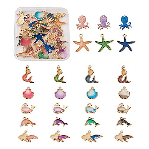 Cheriswelry 52 piezas de aleación esmalte estrella de mar pulpo delfín sirena pez dorado festoneado Shell Charms Metal Mar Animal Colgantes colgantes para DIY joyería pulsera