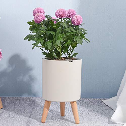 Sungmor Maceta de riego automático inteligente con alarma automática   1 unidad – 19 x 33 cm   Maceta redonda de almacenamiento de agua creativa de estilo nórdico   Maceta decorativa para el hogar