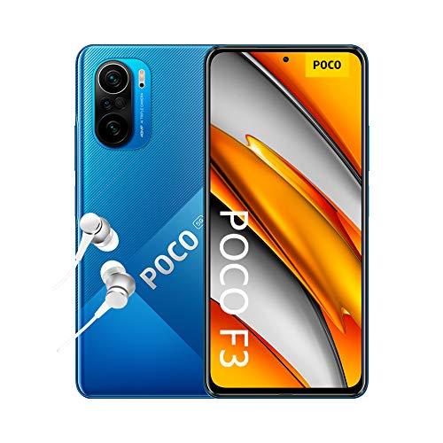 """POCO F3 5G - Smartphone 8+256GB, 6,67"""" 120 Hz AMOLED DotDisplay, Snapdragon 870, cámara triple de 48MP, 4520 mAh, Azul Océano Profundo (versión ES/PT), incluye auriculares Mi"""