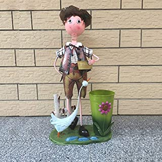 XXLJT Creative Tin Doll Cartoon Landing Trash Can, Flower Arrangement Ornaments Large Trash Can, Living Room Decoration Home Garden Trash Can