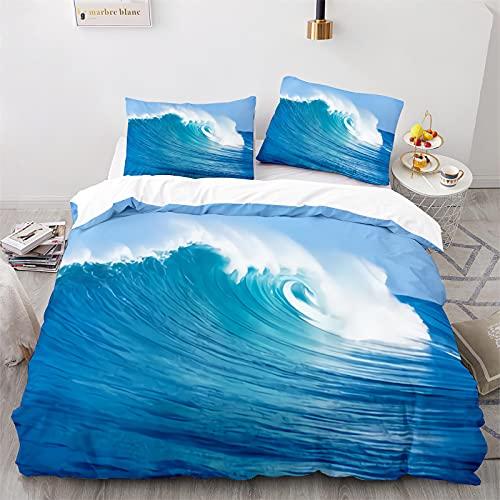 LKFFHAVD Juego de ropa de cama de Sandstrand, ropa de cama, diseño marino marino, funda nórdica de 135 x 200 cm con impresión 3D para niños + funda de almohada (220 x 260 cm, 3)