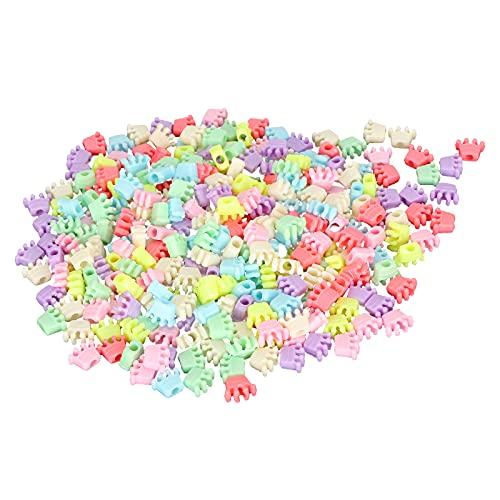 300 Pezzi Perline Corona, Plastica Colorata Perforata Decorazione Ciondolo Gioielli Che Fanno Forniture Artigianato per Braccialetto Collana Fai da Te