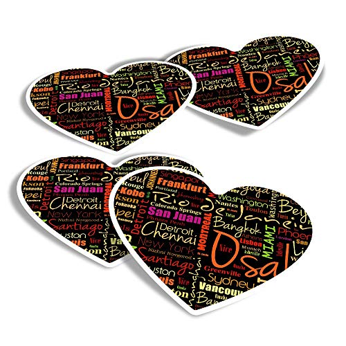 Vinyl Heart Stickers (Set of 4) - Cities Geography World City Art Fun Decals for Laptops,Tablets,Luggage,Scrap Booking,Fridges #15655
