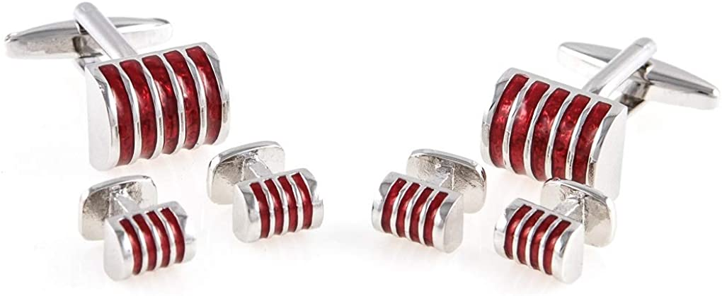 MRCUFF Dome Red Stripe Elegant Tuxedo Cufflinks & Studs Set in a Presentation Gift Box & Polishing Cloth